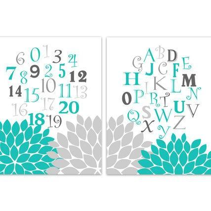 DIGITAL DOWNLOAD - Alphabet Nursery Wall Art, Aqua and Gray Nursery Decor, Instant Download ABC Nursery, Printable Kids Art - KIDS169