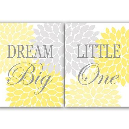 DIGITAL DOWNLOAD - Nursery Quote Art, Dream Big Little One, INSTANT DOWNLOAD, Printable Wall Art, Hawaiian Nursery, Yellow Nursery Decor - KIDS82