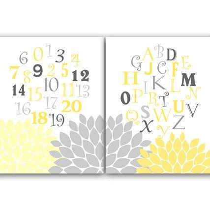 DIGITAL DOWNLOAD - Yellow and Gray Nursery Decor, Instant Download Alphabet Nursery Wall Art, ABC Nursery, Printable Kids Art - KIDS48