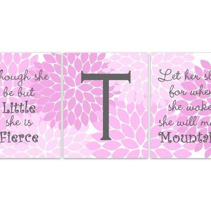 DIGITAL DOWNLOAD - Nursery Wall Art, Though She Be But Little, Let Her Sleep, DIGITAL DOWNLOAD Kids Wall Art, Nursery Quote Art, Pink Nursery Decor - KIDS142