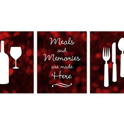 DIGITAL DOWNLOAD - Red and Black Kitchen Art, INSTANT DOWNLOAD, Fork Spoon Knife Art, Wine Art Print, Dining Room Art, Red Kitchen Wall Art - HOME128