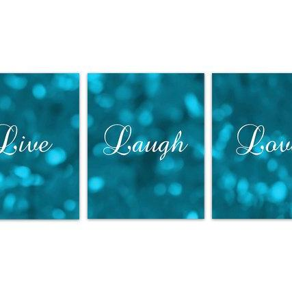 DIGITAL DOWNLOAD - Instant Download Home Quote Art, Live Laugh Love, Teal Bokeh Bedroom Wall Art, Turquoise Home Decor, Printable Kitchen Decor Art - HOME131