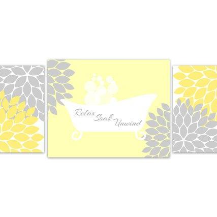 DIGITAL DOWNLOAD - Bathroom Wall Art, Yellow Bathroom Decor, INSTANT DOWNLOAD, Flower Burst Bathtub Art, Home Decor, Bathroom Wall Decor - BATH66