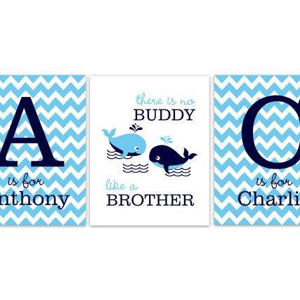 DIGITAL DOWNLOAD - Brothers Wall Art, DIGITAL DOWNLOAD Boys Monogram Art, Blue Chevron Whale Nursery, Brothers Quote, Kids Name Art, Boys Room Decor - KIDS143
