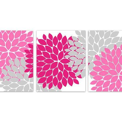 DIGITAL DOWNLOAD - INSTANT DOWNLOAD Flower Burst Art, Pink and Grey Home Decor, Printable Wall Art, Pink Bedroom, Pink Bathroom, Pink Nursery Decor - HOME136