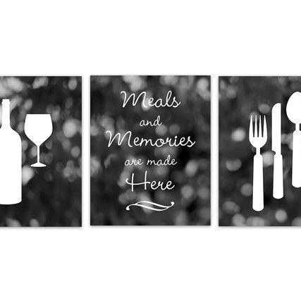 DIGITAL DOWNLOAD - INSTANT DOWNLOAD, Fork Spoon Knife Art, Wine Art Print, Black Kitchen, Dining Room Art, Meals and Memories Kitchen Quote - HOME129