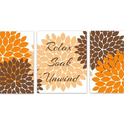 DIGITAL DOWNLOAD - Instant Download Bathroom Art, Orange and Brown Bathroom Decor, Relax Soak Unwind, Printable Modern Bathroom Decor - BATH92