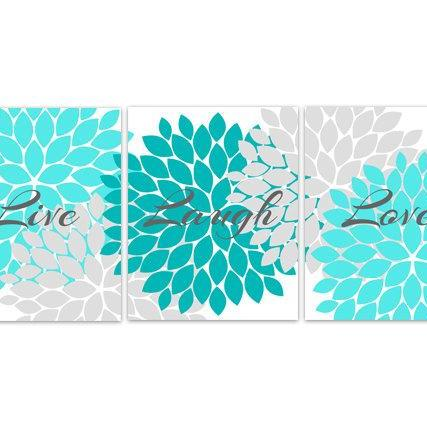DIGITAL DOWNLOAD - Aqua and Grey Bedroom Decor, Live Laugh Love, INSTANT DOWNLOAD Bath Art, Bedroom Wall Art, Printable Modern Bedroom Wall Decor - HOME95