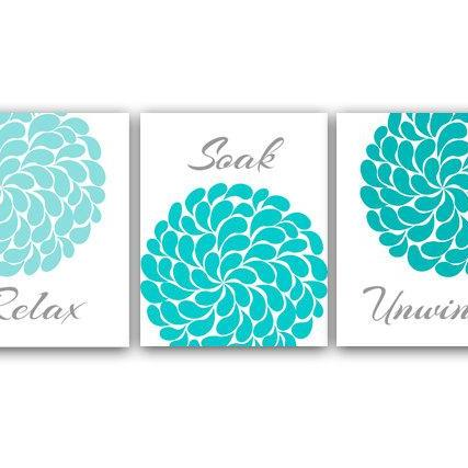 DIGITAL DOWNLOAD - Bathroom Wall Art, Relax Soak Unwind, Instant Download Bath Art, Printable Modern Bathroom Decor, Aqua and Gray Bathroom Decor - BATH5