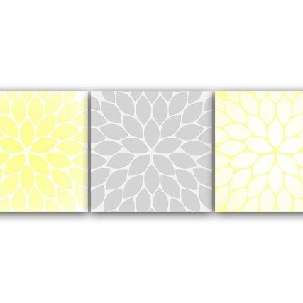 DIGITAL DOWNLOAD - Home Decor Wall Art, INSTANT DOWNLOAD Yellow and Grey Flower Burst Art, Bathroom Wall Decor, Yellow Bedroom Decor, Nursery Wall Art - HOME71