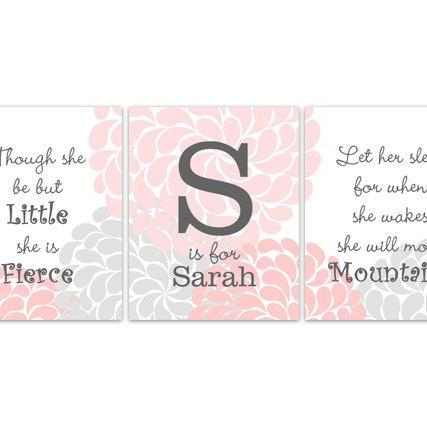DIGITAL DOWNLOAD - Nursery Wall Art, Though She Be But Little, Let Her Sleep, DIGITAL DOWNLOAD Kids Wall Art, Nursery Quote Art, Pink Nursery Decor - KIDS155