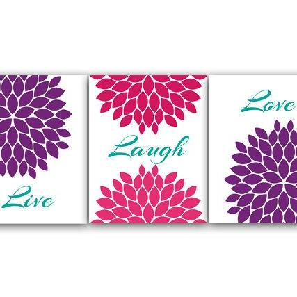DIGITAL DOWNLOAD - Bedroom Wall Art, Live Laugh Love, INSTANT DOWNLOAD Bath Art, Modern Bedroom Wall Decor, Purple and Pink Bedroom Decor - HOME34