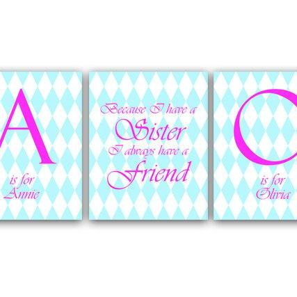 DIGITAL DOWNLOAD - Sister Wall Art, Printable Wall Art, Sister Quote, Personalized Kids Art, Kids Name Art, Blue and Pink Nursery, Girls Room Decor - KIDS22