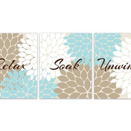 DIGITAL DOWNLOAD - Relax Soak Unwind, INSTANT DOWNLOAD Set of 3 Bath Art Printable, Modern Bathroom Art, Aqua Brown Bathroom Decor - BATH80