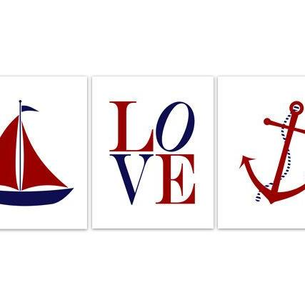 DIGITAL DOWNLOAD - Nautical Nursery Wall Art, Instant DOWNLOAD Nursery Art, Nursery LOVE Art, Sailboat Nursery Decor, Anchor Art - KIDS156