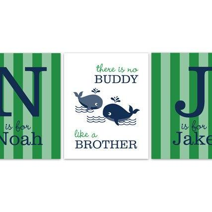 DIGITAL DOWNLOAD - Brothers Wall Art, DIGITAL DOWNLOAD Boys Monogram Art, Blue Green Whale Nursery, Brothers Quote, Kids Name Art, Boys Room Decor - KIDS157