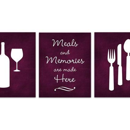 DIGITAL DOWNLOAD - Burgundy Kitchen Art, INSTANT DOWNLOAD, Fork Spoon Knife Art, Wine Art Print, Dining Room Art, Chalkboard Kitchen Wall Art - HOME126
