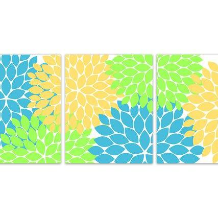 DIGITAL DOWNLOAD - INSTANT DOWNLOAD Green Yellow Blue Flower Burst Art, Home Decor Wall Art, Bathroom Wall Decor, Green Yellow Bedroom Decor - HOME124