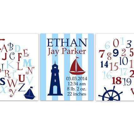 DIGITAL DOWNLOAD - Nautical Nursery Decor, Birth Stats Wall Art, DIGITAL DOWNLOAD Alphabet Art Print, Boys Room Art, Set of 3 Nursery Prints - KIDS146