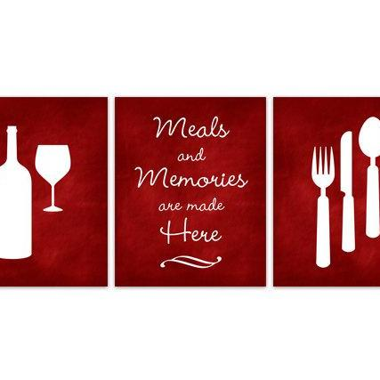 DIGITAL DOWNLOAD - Christmas Decor, Kitchen Art, INSTANT DOWNLOAD, Fork Spoon Knife Art, Wine Art Print, Dining Room Art, Red Kitchen Wall Art - HOME116
