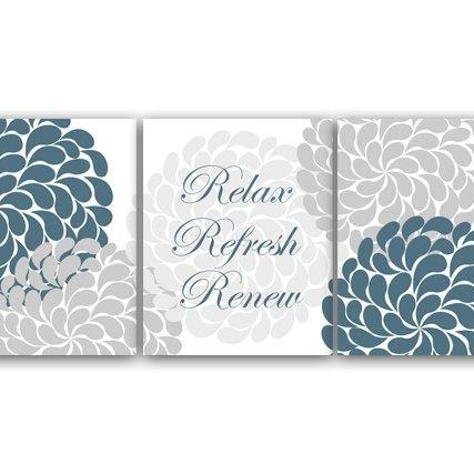 DIGITAL DOWNLOAD - Relax Refresh Renew, Home Decor Wall Art, Printable Wall Art, Teal and Gray Bathroom Wall Art, Flower Burst Bathroom Art - BATH20