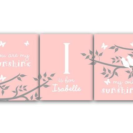 DIGITAL DOWNLOAD - You Are My Sunshine, My Only Sunshine, DIGITAL DOWNLOAD Girls Monogram, Nursery Wall Art, Birds in a Tree Art, Pink Nursery - KIDS105