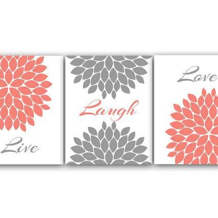 DIGITAL DOWNLOAD - Home Wall Art, INSTANT DOWNLOAD Bathroom Art, Live Laugh Love, Coral and Grey Nursery Decor, Flower Burst Artwork, Coral Bedroom - HOME62