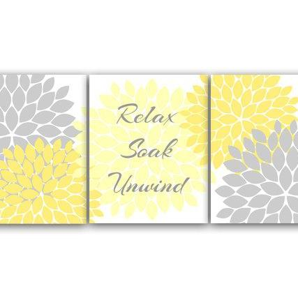 DIGITAL DOWNLOAD - Instant Download Bathroom Wall Art, Relax Soak Unwind, Printable Modern Bathroom Decor, Yellow Grey Bathroom Decor - BATH28