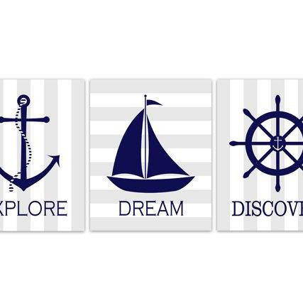 DIGITAL DOWNLOAD - Nautical Nursery Wall Art, Sailboat Nursery Decor, DIGITAL DOWNLOAD Nursery Quote Art, Explore Dream Discover, Sailboat Art - KIDS167