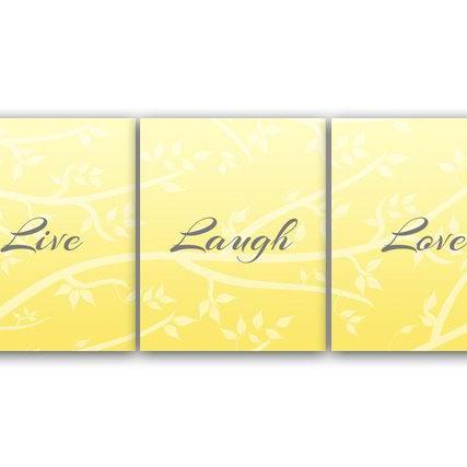 DIGITAL DOWNLOAD - Home Decor Wall Art, Live Laugh Love, INSTANT DOWNLOAD Yellow Grey Art, Tree Artwork, Printable Wall Art - HOME78
