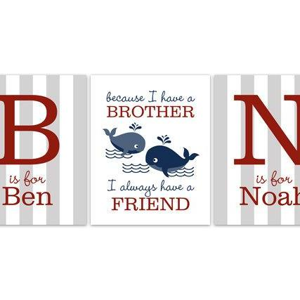 DIGITAL DOWNLOAD - Brothers Wall Art, DIGITAL DOWNLOAD Boys Monogram Art, Red and Blue Whale Nursery, Brothers Quote, Kids Name Art, Boys Room Decor - KIDS139