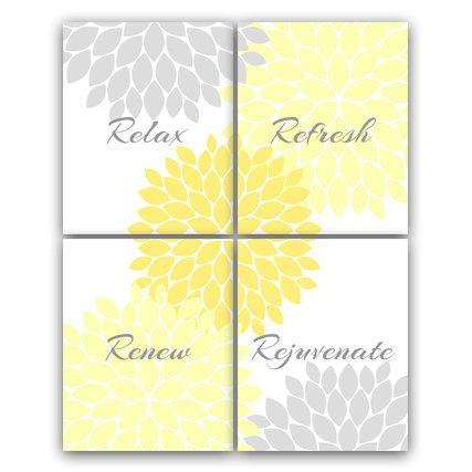 DIGITAL DOWNLOAD - Bathroom Wall Art, Relax Refresh Renew, INSTANT DOWNLOAD Bath Art, Printable Modern Bathroom Decor, Yellow and Gray Bathroom Decor - BATH39