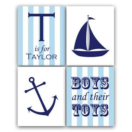 DIGITAL DOWNLOAD - Nautical Nursery Wall Art, DIGITAL DOWNLOAD Nursery Quote, Sailboat Nursery Decor, Personalized Nursery Art, Boys and Their Toys - KIDS95