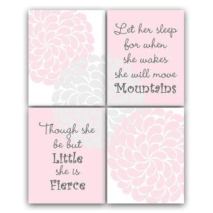 DIGITAL DOWNLOAD - Nursery Quote Print, Nursery Wall Art, INSTANT DOWNLOAD, Let Her Sleep, She Will Move Mountains, She Is Fierce, Nursery Wall Decor - KIDS76