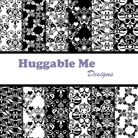 Digital Scrapbooking Paper Black And White Damask Digital ...